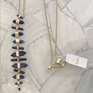 Kendra Scott NWT lapis and gold Samantha necklace